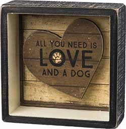 Love and a Dog Shadowbox Sign