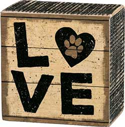 Love Box Sign with Paw Print