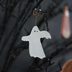 Ghost Distressed Wood Ornament