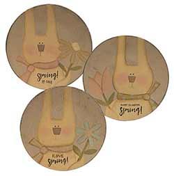 Spring Bunny Primitive Plates (Set of 3)