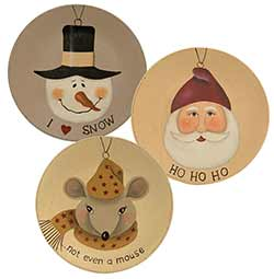 Santa, Snowman, & Mouse Plates (Set of 3)