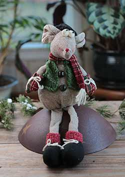 Scarved Mouse Sitting Doll with Top Hat