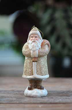 Champagne Santa Ornament with Bag