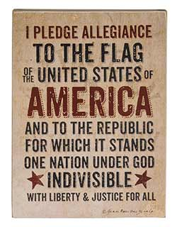 Pledge of Allegiance Box Sign