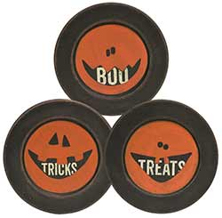 Boo, Tricks, Treats Wood Plates (Set of 3)