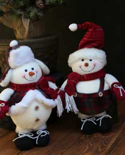 Crimson Plaid Small Snowman Stander
