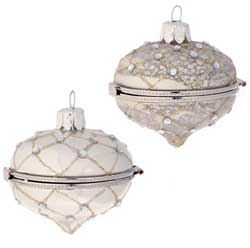 Silver / White Glittered Keepsake Box Ornament