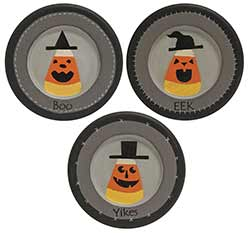 Boo, Eek, Yikes Candy Corn Plates (Set of 3)