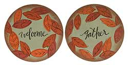 Welcome Gather Plates with Fall Leaves (Set of 2)