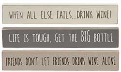 Wine Mini Shelf Sitter Signs (Set of 3)