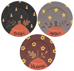 Blessings, Grateful, Gather Fall Plates (Set of 3)