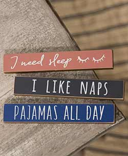 Naps & Pajamas Mini Shelf Sitter Signs (Set of 3)