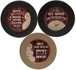 Buffalo Check Snowman Christmas Plates (Set of 3)