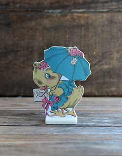 Vintage Easter Dummy Board - Chick with Umbrella