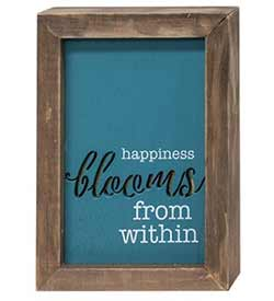 Happiness Blooms Framed Wood Sign