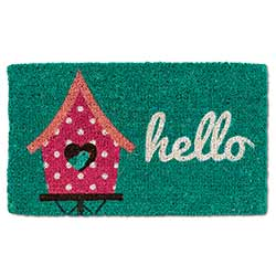 Hello Doormat with Birdhouse