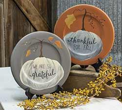 Thankful & Grateful Pumpkin Plates (Set of 2)