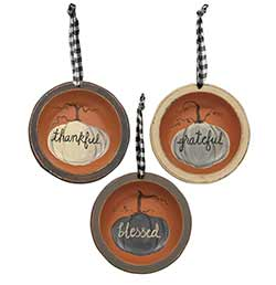 Thankful, Grateful, Blessed Bowl Ornaments (Set of 3)