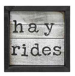 Hayrides Framed Sign