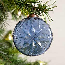 Blue Round Glass Ornaments (Box of 4)