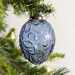 Blue Egg Glass Ornaments (Box of 4)