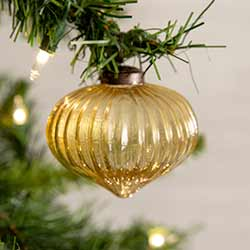 Gold Glass Onion Ornaments (Box of 4)