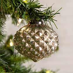 Silver Glass Diamond Pattern Ornaments (Box of 4)