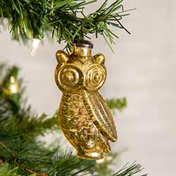 Gold Glass Owl Ornaments (Box of 4)