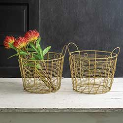 Gold Wire Baskets (Set of 2)