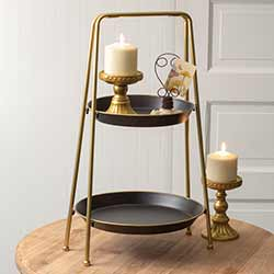 Black and Gold Two-Tiered Tray
