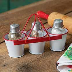 Enamel Bucket Salt, Pepper, and Toothpick Caddy