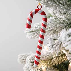 Red Metal Candy Cane Ornaments (Set of 4)