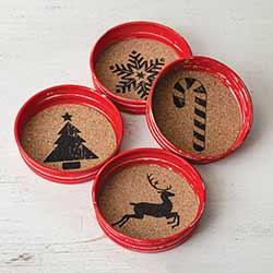 Mason Jar Lid Christmas Coasters (Set of 4)