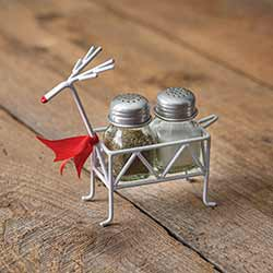 Metal Reindeer Salt and Pepper Caddy