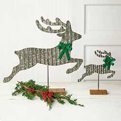 Galvanized Reindeer Tabletop Decor (Set of 2)