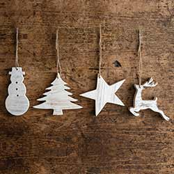 Distressed White Wood Ornaments (Set of 4)