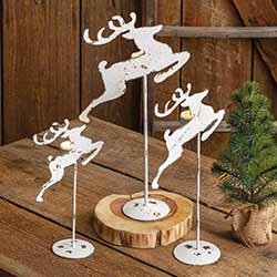 Distressed White Reindeer Tealight Holders (Set of 3)