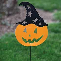 Pumpkin with Witch Hat Garden Stake