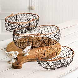 Wire Gathering Baskets (Set of 3)