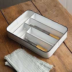 Enamel Divided Utensil Tray