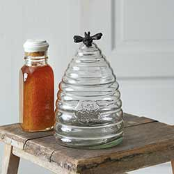 Honey Bee Hive Glass Canister - Small