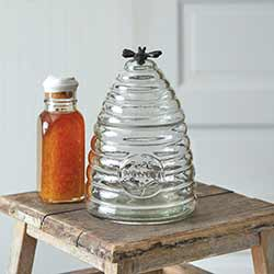 Honey Bee Hive Glass Canister - Medium
