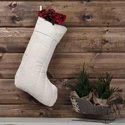 Ivory Velvet Christmas Stocking
