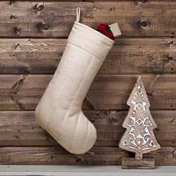 Ivory Felt Christmas Stocking