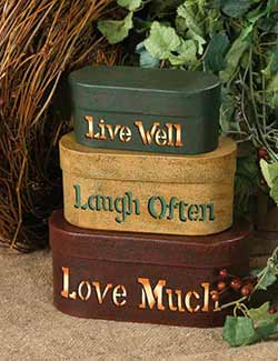 Live, Laugh, Love Stacking Boxes (Set of 3)