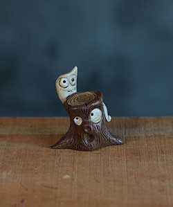 Halloween Miniature – Tree Trunk with Ghost