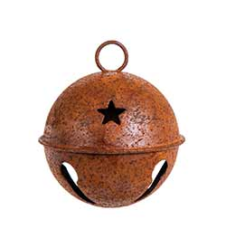 Rusty Jingle Bell with Star - 60mm