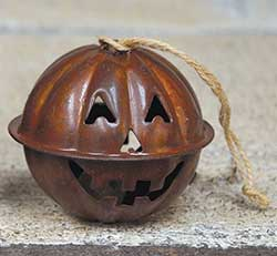Rusty Jack o Lantern Jingle Bell Ornament