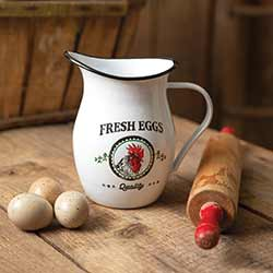 Rooster Enamelware Pitcher
