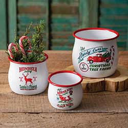 Christmas Tree Farm Enamel Bowls (Set of 3)
